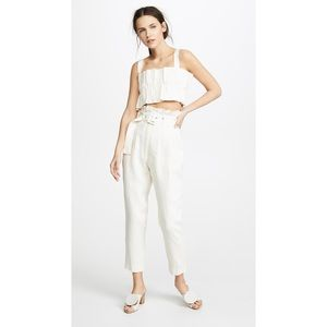s t e e l e. Women's Paper Bag Belted Linen Natural Aster Pants with Pockets